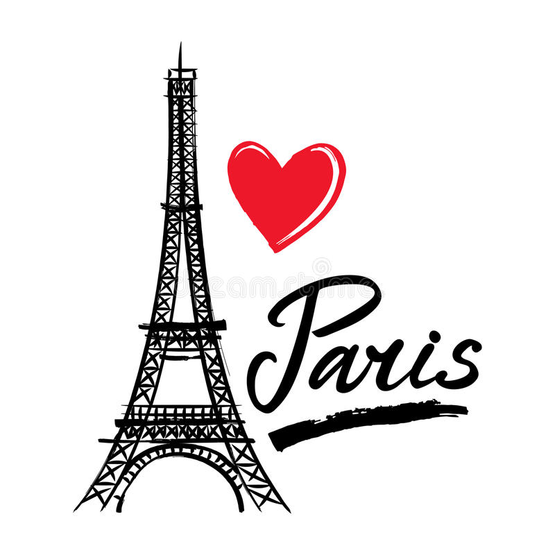 Torre de França-Eiffel do símbolo, coração e palavra Paris Capital francesa ilustração royalty free