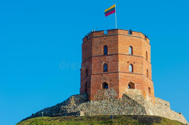 A torre de Gediminas ou o castelo, Vilnius, Lituânia foto de stock