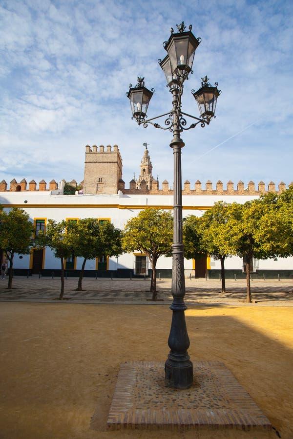 Torre de Giralda de la catedral de Sevilla del Alcazar de Sevilla Andalusi fotos de archivo libres de regalías