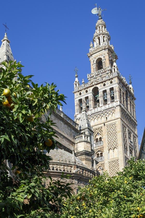 Torre de Giralda, el campanario de la catedral de Sevilla fotografía de archivo libre de regalías