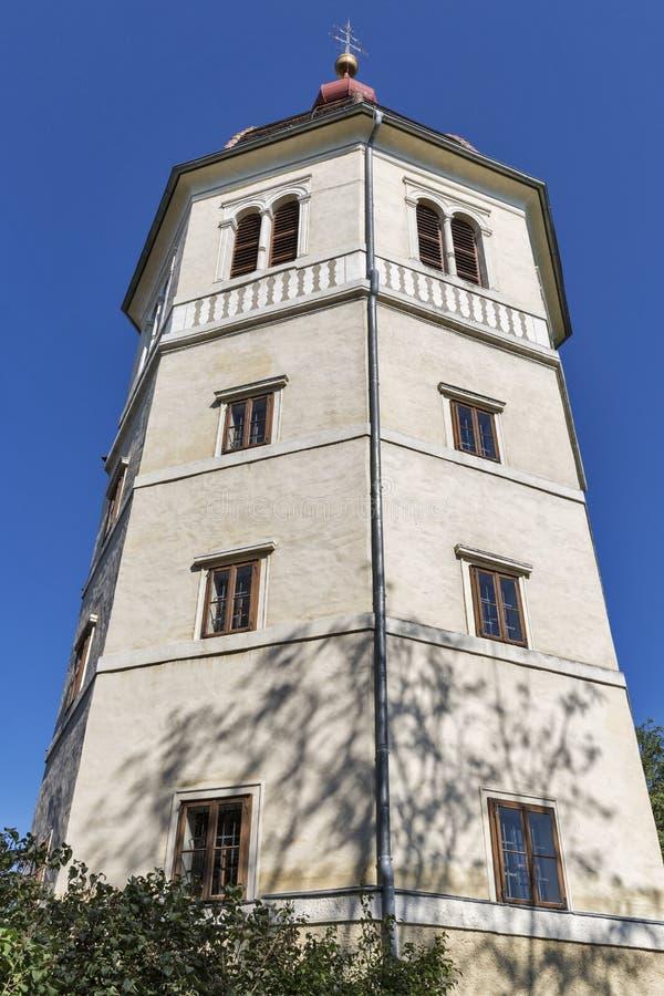 Torre de Glockenturm en la colina de Schlossberg en Graz, Austria imagen de archivo