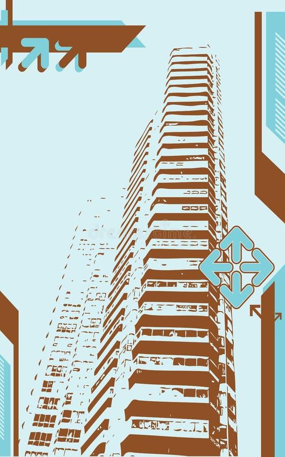 Torre de Grunge da cidade ilustração royalty free
