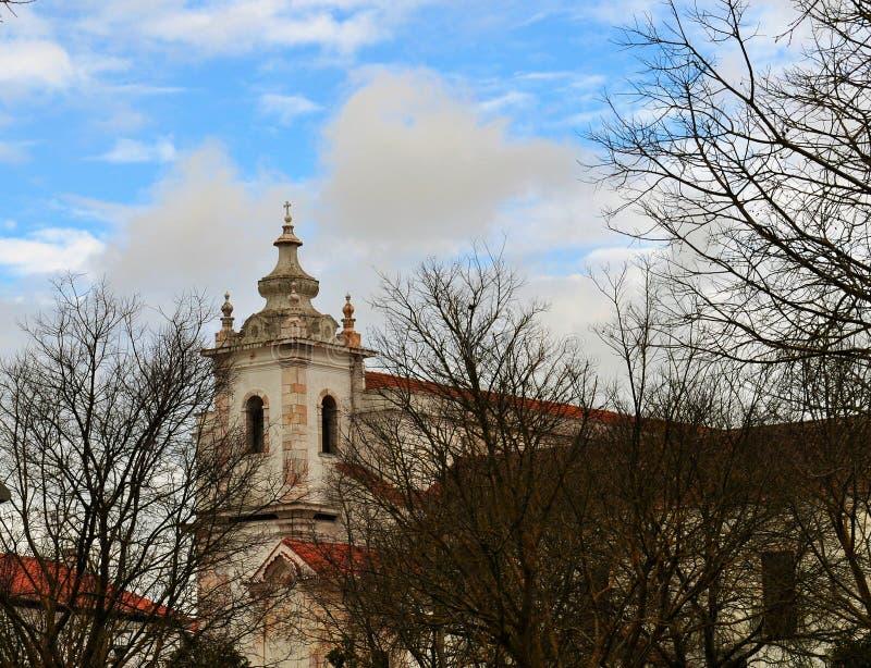 Torre de iglesia detrás de los árboles - convento de Maltezas - Centro Ciência Viva de Estremoz foto de archivo libre de regalías
