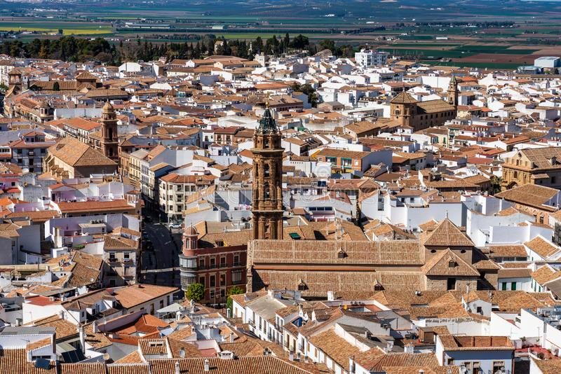 Torre de iglesia de San Sebastian en provincia de Antequera, M?laga, Andaluc?a, Espa?a imagen de archivo libre de regalías