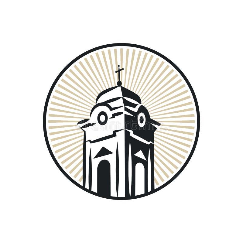 Torre de igreja católica romana ilustração stock