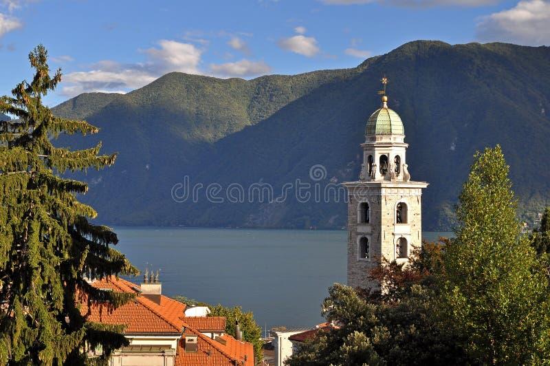 Torre de igreja de Lugano foto de stock