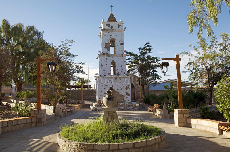 Torre de igreja de Toconao em Toconao, o Chile imagem de stock royalty free