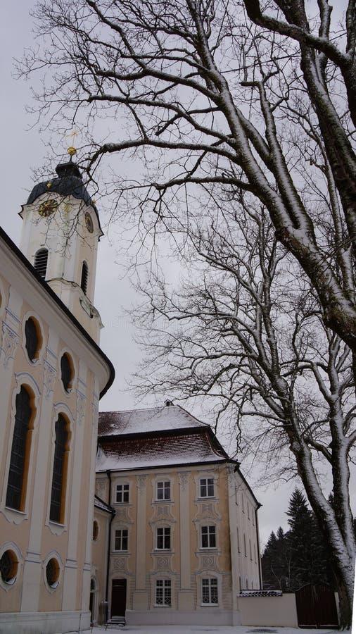 Torre de igreja do destino bávaro do peregrino do wieskirche foto de stock royalty free