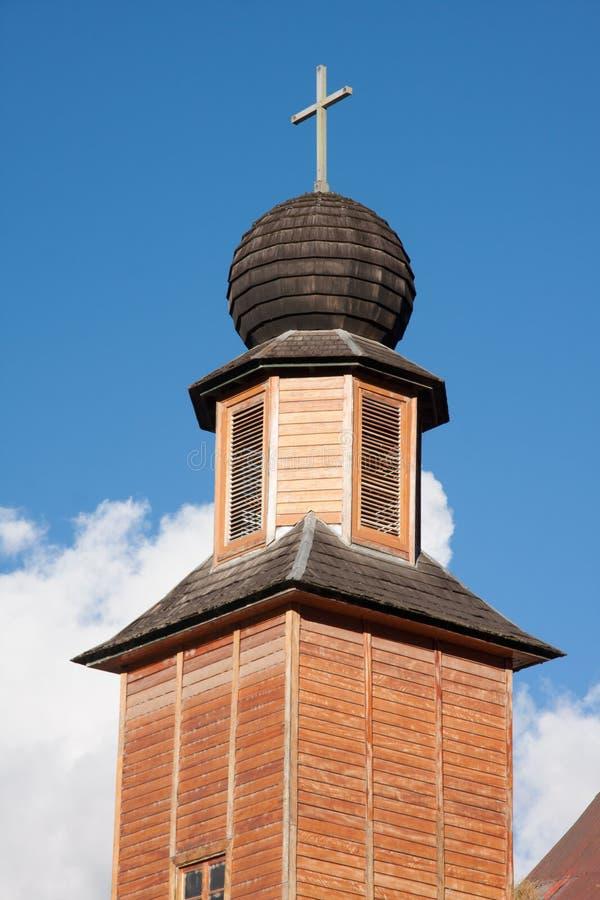 Torre de igreja de Oxapampa imagem de stock