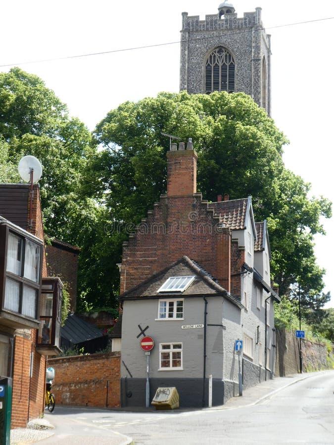 Torre de igreja de St Giles no monte, Norwich, Norfolk, Reino Unido foto de stock