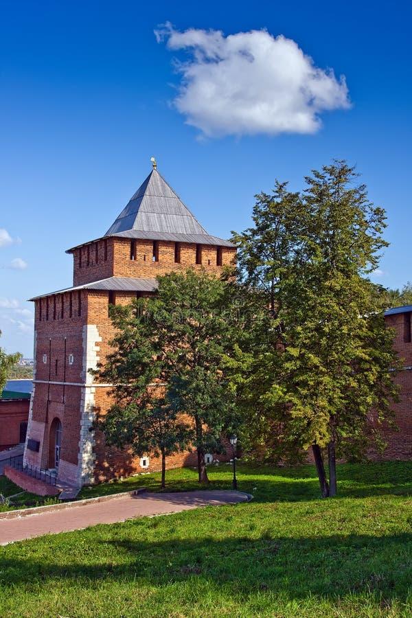 Torre de Ivanovskaya de Nizhny Novgorod kremlin imagem de stock