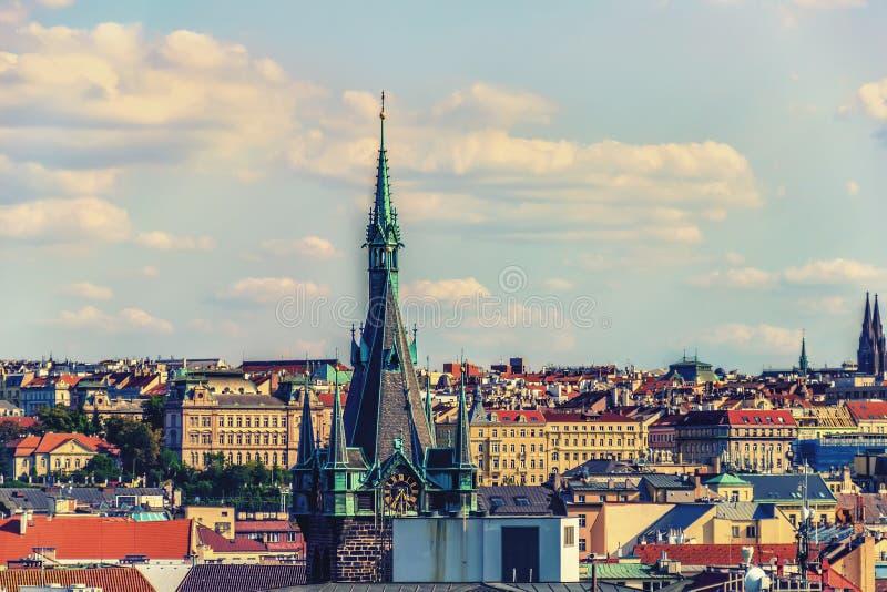 Torre de Jindrisska de Praga, República Checa, visión aérea imagen de archivo libre de regalías