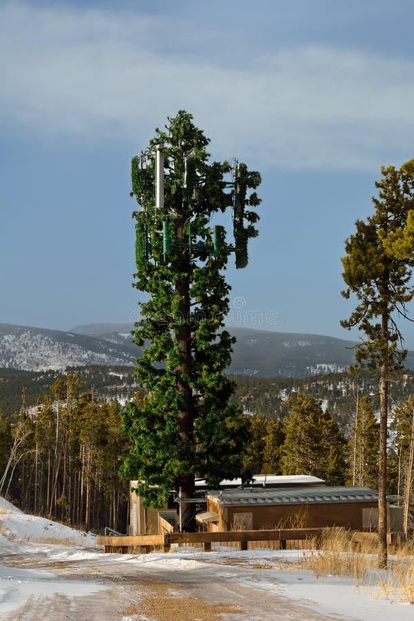 Torre de la célula disfrazada como árbol fotos de archivo