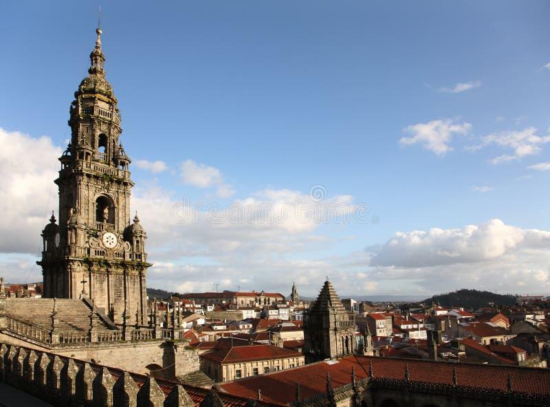 Torre de la catedral de Santiago de Compostela fotografía de archivo