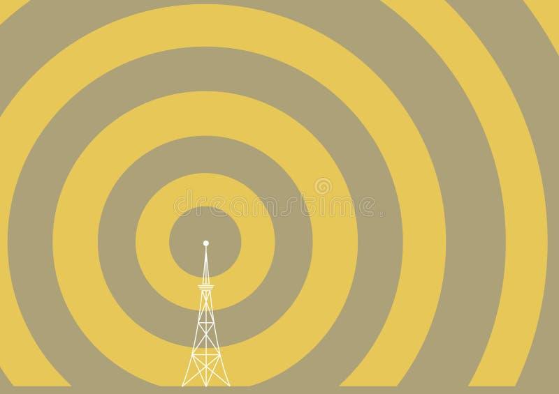Torre de la difusión con las ondas de la transmisión libre illustration