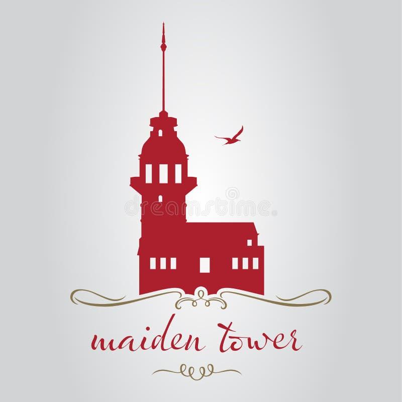 Torre de la doncella de Estambul stock de ilustración