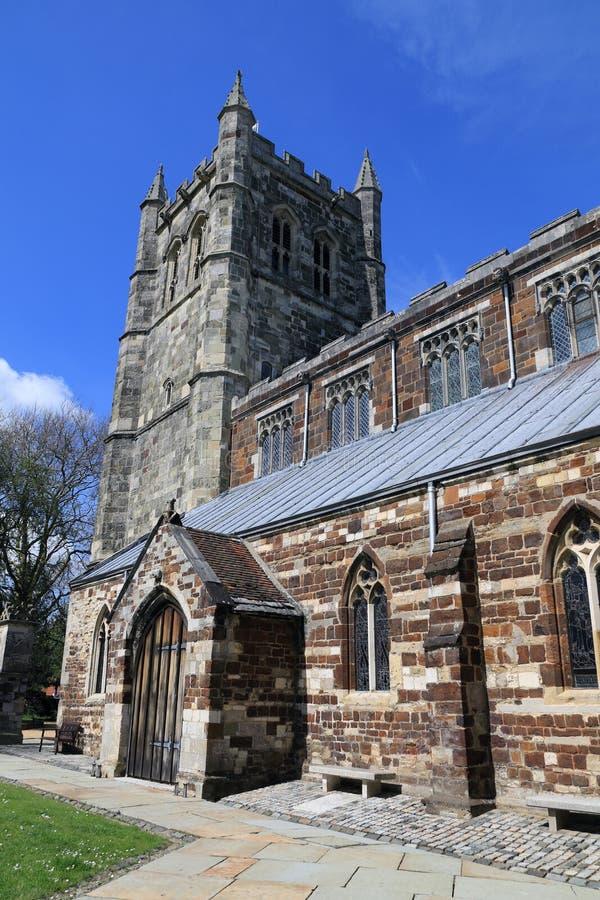 Torre de la iglesia de monasterio de Wimborne foto de archivo