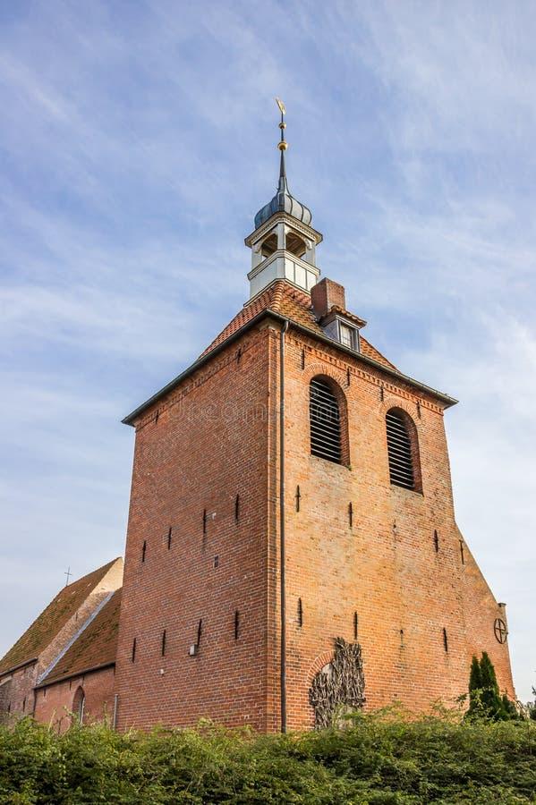 Torre de la iglesia del St Antonius de Petkum fotos de archivo libres de regalías