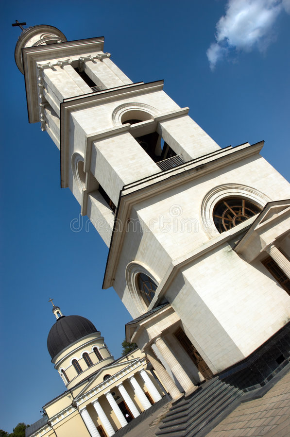 Torre de la iglesia y de alarma fotografía de archivo