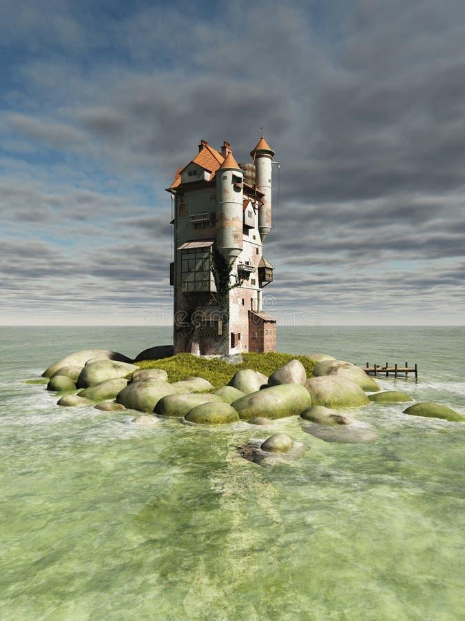 Torre de la isla stock de ilustración