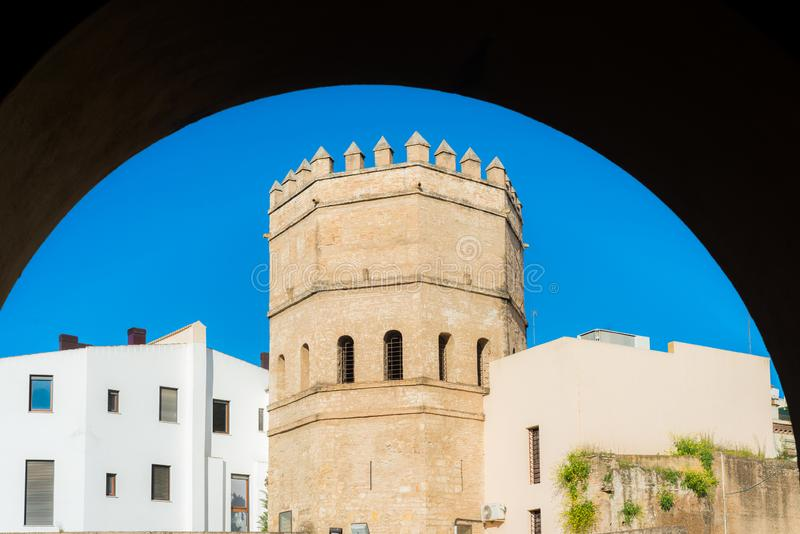 The Torre de la Plata in Seville, Spain. The Torre de la Plata in Seville is an octagonal tower from the 13th century that formed part of the city wall until the stock images