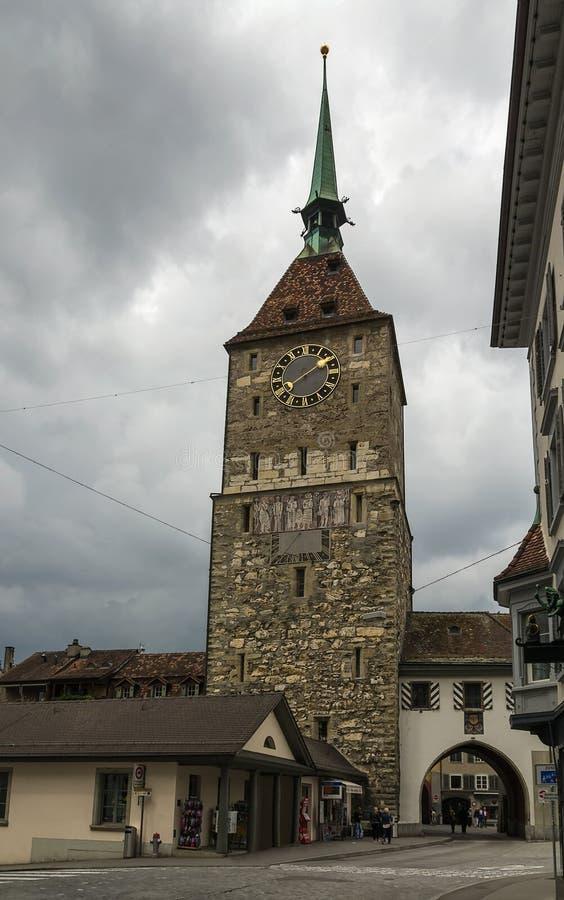 Torre de la puerta, Aarau, Suiza imágenes de archivo libres de regalías