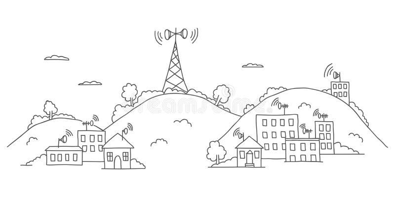 Torre de la transmisión en paisaje con las ondas de la señal ilustración del vector