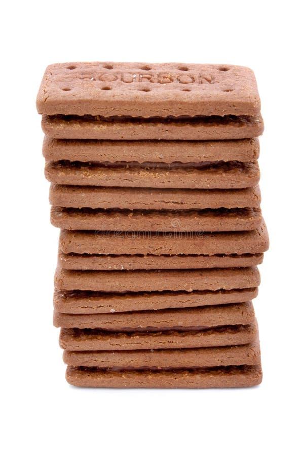 Torre de las galletas del chocolate sobre blanco imagenes de archivo