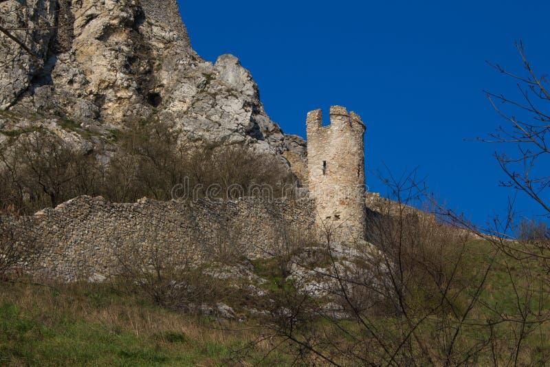 Torre de las ruinas del castillo de Devin, Eslovaquia foto de archivo libre de regalías