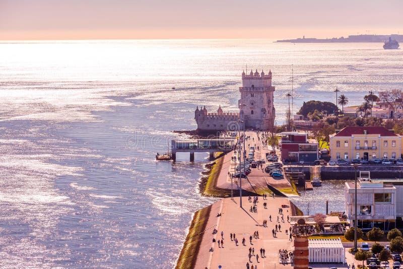 Torre de Lisboa, Belem y el r?o Tagus, Portugal fotografía de archivo