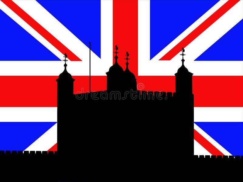 Torre de Londres com bandeira ilustração royalty free