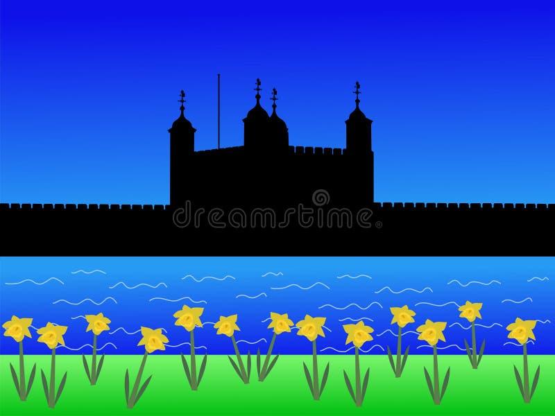 Torre de Londres na mola ilustração royalty free