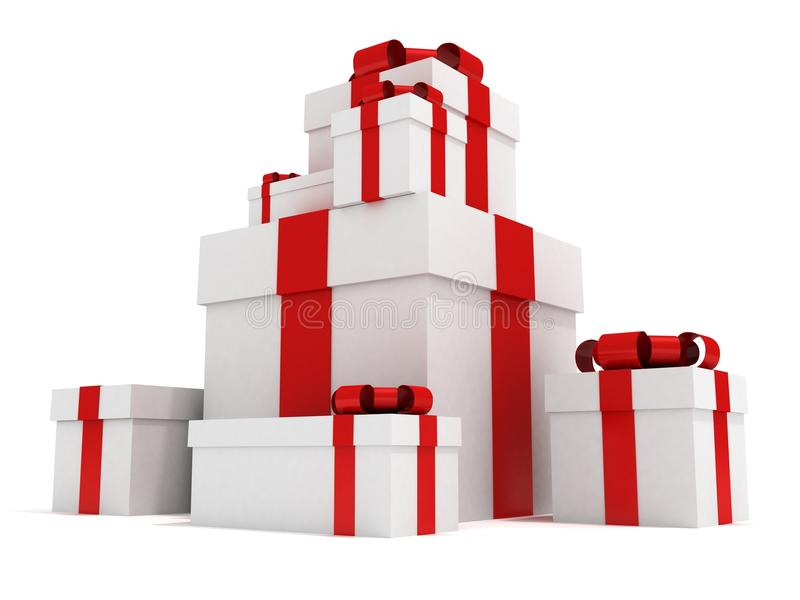 Torre de los días de fiesta de los rectángulos de regalo stock de ilustración