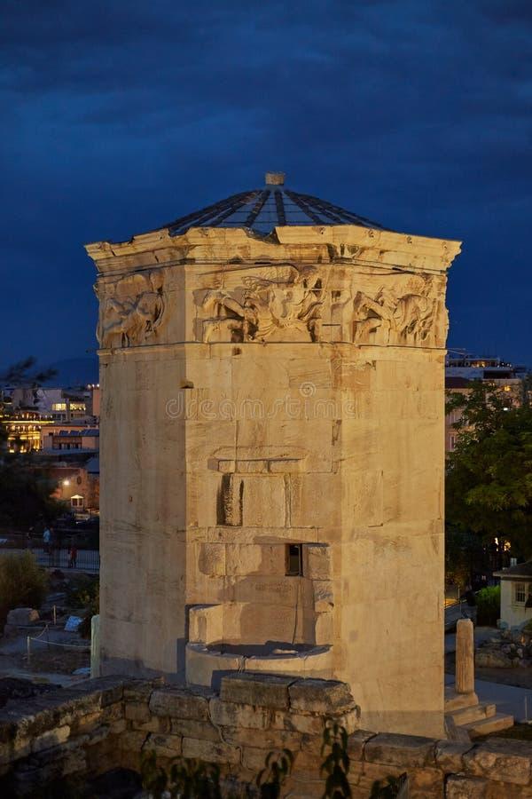 Torre de los vientos en la ciudad antigua de Atenas fotografía de archivo