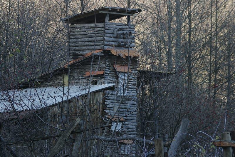 Torre de madeira na floresta, construção adicional, outono foto de stock