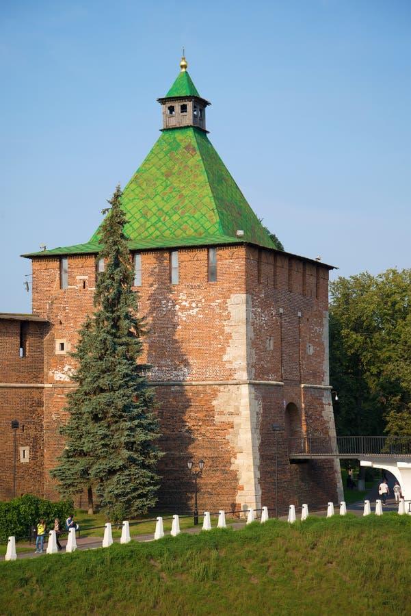 Torre de Nikolskaya no Kremlin de Nizhny Novgorod Rússia imagens de stock
