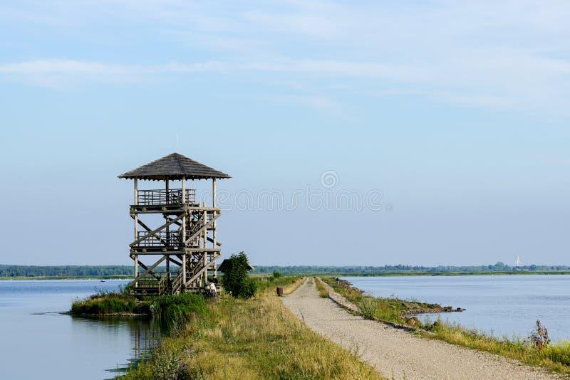 Torre de observação do pássaro no lago do liepaja imagem de stock royalty free