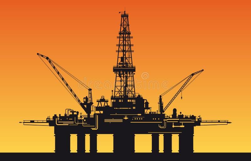 Torre de perforación de petróleo en el mar ilustración del vector