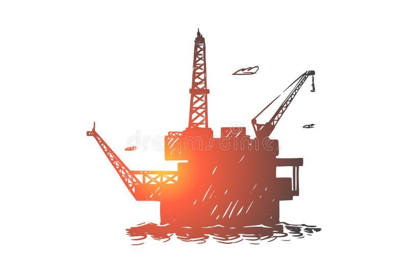 Torre de perforaci?n minera del aceite costero, torre industrial de la perforaci?n del oc?ano, aparejo del campo petrol?fero en e stock de ilustración