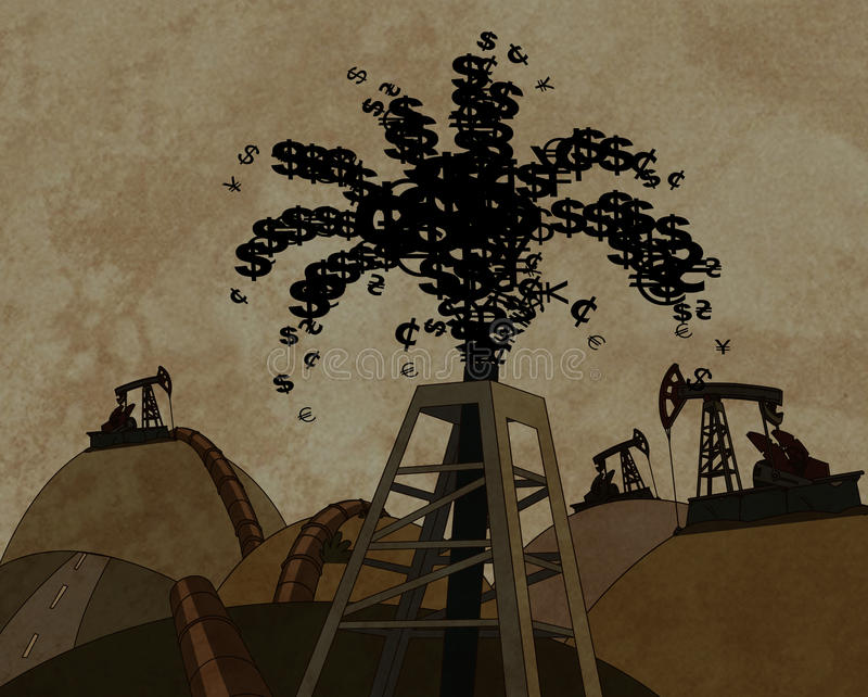Torre de petróleo que joga para fora o dinheiro ilustração royalty free