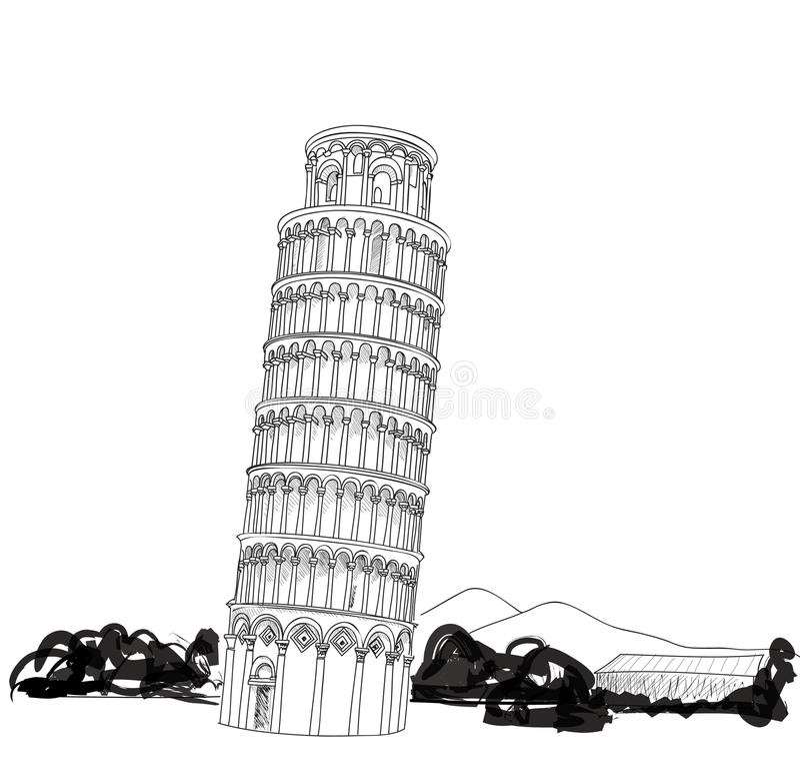 Torre de Pisa com ilustração tirada mão da paisagem. Torre inclinada de Pisa, patrimônio mundial em Pisa, Toscânia, Itália ilustração royalty free