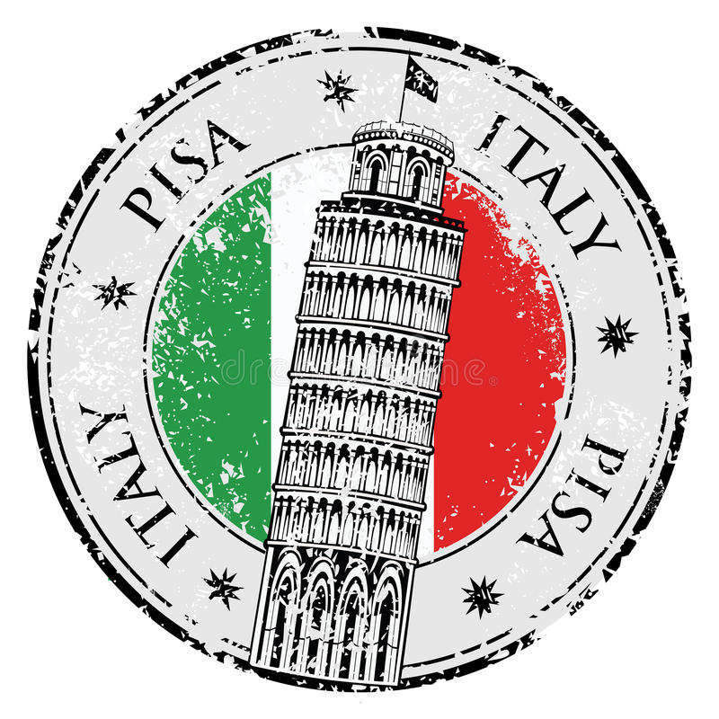Torre de Pisa del sello en Italia, vector ilustración del vector