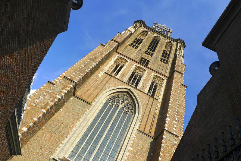 Torre de pulso de disparo da catedral de Dordrecht, Holland imagem de stock royalty free