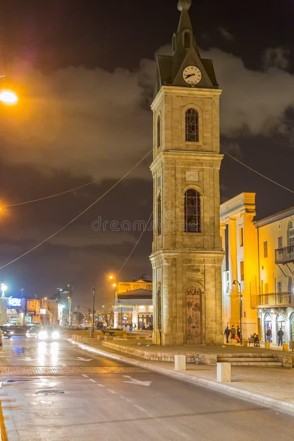 Torre de pulso de disparo de Jaffa na noite foto de stock