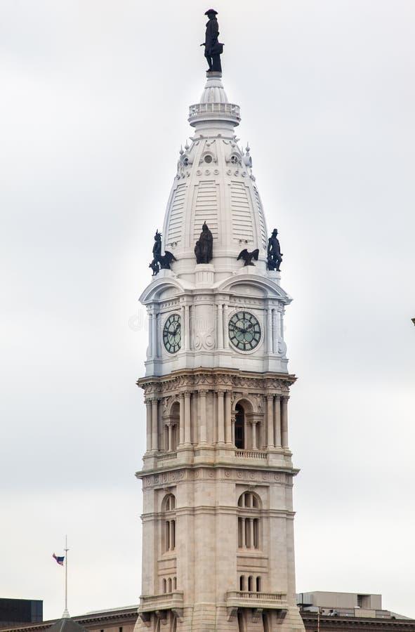 Torre de pulso de disparo de salão de cidade de Philadelphfia fotos de stock royalty free