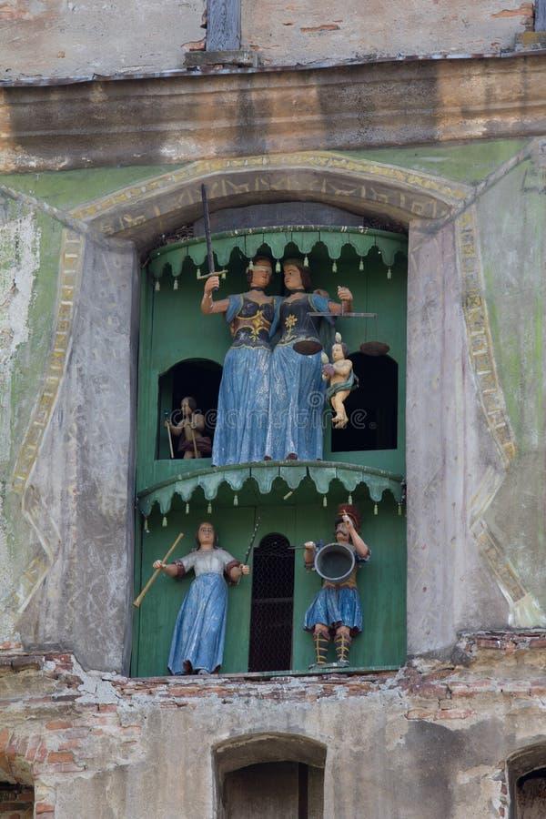 Torre de pulso de disparo do castelo de Sighisoara, a Transilvânia fotos de stock