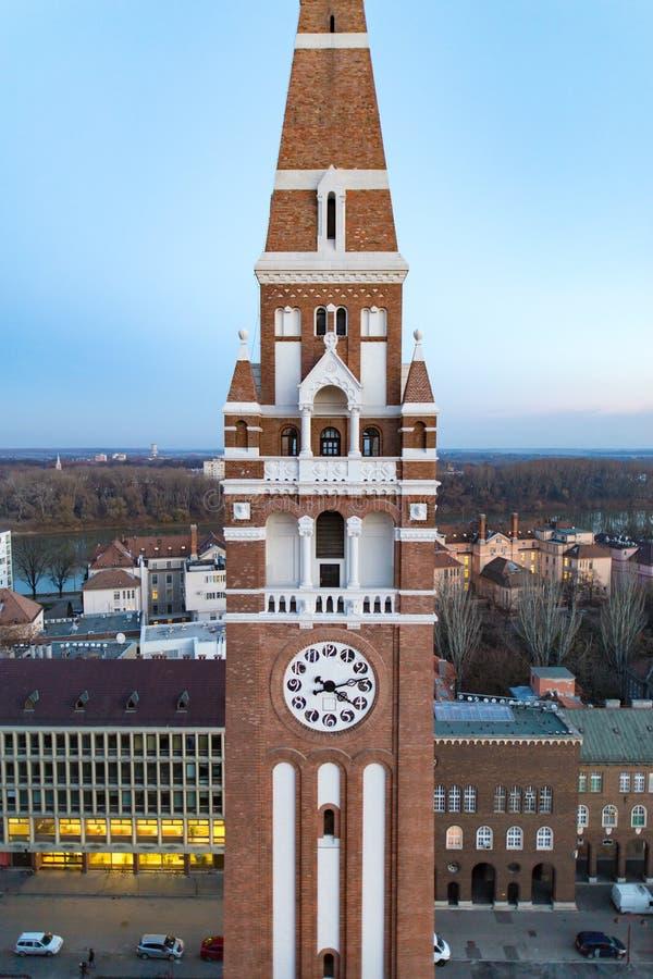 Torre de pulso de disparo votiva de Szeged Christian Church, Hungria fotografia de stock