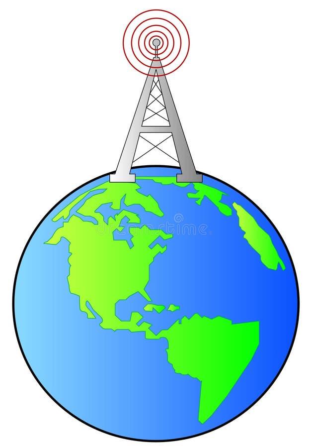 Torre de rádio na terra ilustração stock