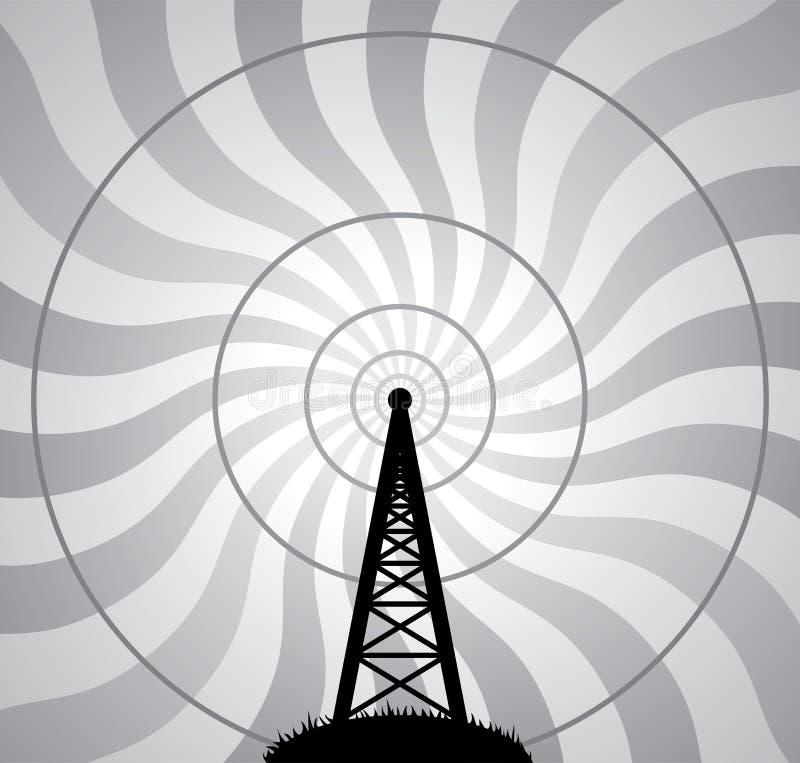 torre de radio del vector y ondas de aire stock de ilustración
