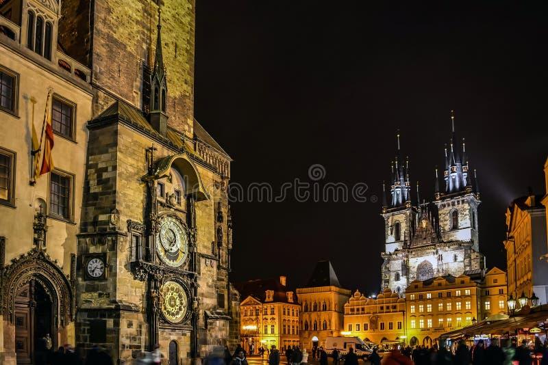 Torre de reloj astronómica en Praga fotos de archivo libres de regalías